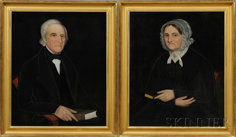 pair of portraits of a gentleman and a lady by ammi phillips