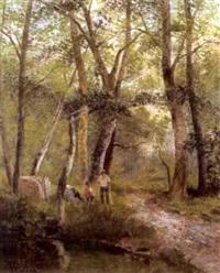 holzarbeiter im wienerwald by a. vacano
