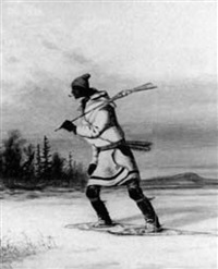 indian hunter on snowshoes by s.s. macaulay