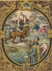 an allegorical portrait of a venetian governor of crete, receiving his command from the lion of saint mark and saint michael... by alessandro merli