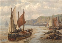 fishing boats on the beach of bretagne by gerardus johannes koekkoek