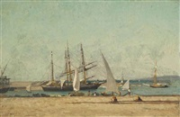 preparing nets at the harbour wall by victor de papelen (papeleu)