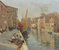 canale con barche a chioggia by eugenio gignous