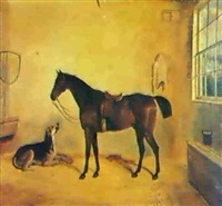 a saddled mare and a dog in a stable, a country house seen through the window by edward walter webb