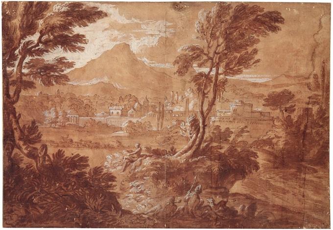 klassische landschaft mit blick auf eine italienische stadt by gaspard dughet