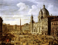piazza navona, rome, looking south towards palazzo pamphilj and palazzo massimo lancellotti, with the church of sant'agnese in agone by salvatore colonelli-sciarra