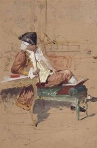 sitzender herr mit buch in rokoko-kleidung by salvatore postiglione