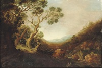 a wooded rocky landscape with birds and deer by a stream by gysbert gillisz de hondecoeter