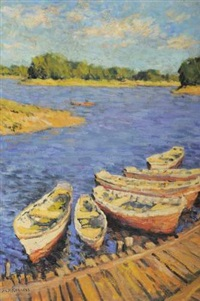 barques sur l'étang by mikhail nikolaevich yakovlev