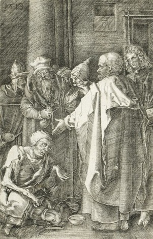 st peter and st john at the gate of the temple 1513 by albrecht dürer