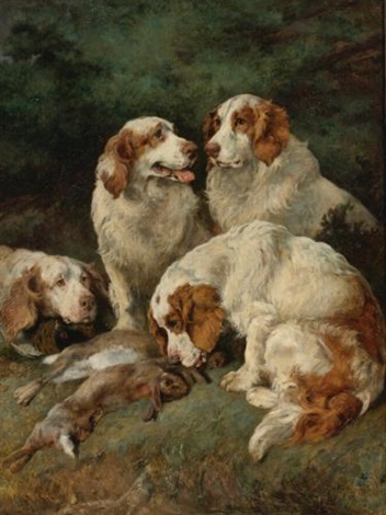 clumber spaniels with the days bag by john emms