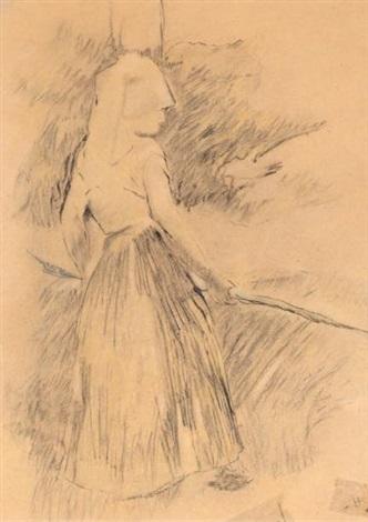 etude pour le tableau de la faneuse (study) by berthe morisot
