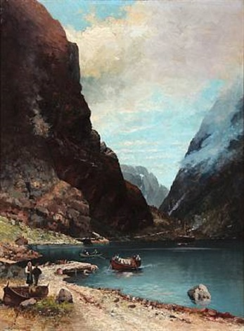 norwegian fiord scene with people by sigvald simensen