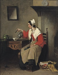 pouring tea by sipke (cornelis) kool