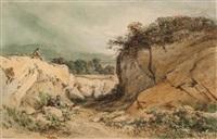 petits bergers dans un paysage rocailleux by jules (joseph augustin) laurens