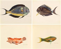 poissons exotiques (9 works) by edouard marcel sandoz