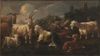 pastore con capre e cane in un paesaggio by philipp peter roos
