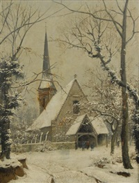 parishioners leaving church in winter by hippolyte noel