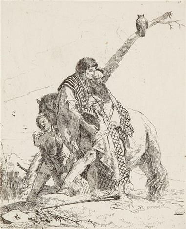 trois hommes debout près d'un cheval, pl.19 (from scherzi) by giovanni battista tiepolo