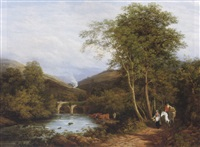 view on the burle, near dulverton, somerset by george samuel