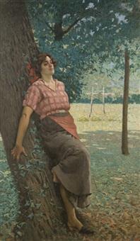 giovane contadina sotto gli alberi by angiolo tommasi