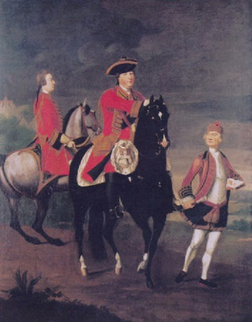 equestrain portrait of augustus, duke of cumberland, with an aide de camp, and a highland servant by david morier