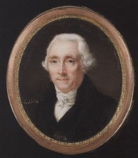 an elderly gentleman wearing black coat, waistcoat, white shirt and cravat by xaint edmée (mme) lemoine