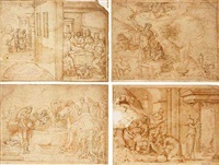 sarah complaining of ishmael, and the departure of hagar and ishmael by bernard (le petit bernard) salomon