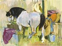pferde im stall by eduard aigner