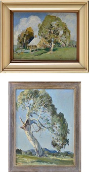a farm in summer and a tree study (2 works) by george garden colville
