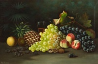 still life of mixed fruit and nuts by w.g. becker