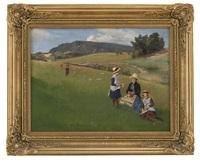 kvinne og barn i landskap by axel ender