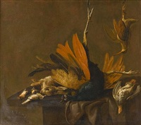 a peacock, rabbit, partridge, woodcock and songbirds on a draped table by elias vonck