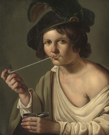 a young man in a feathered cap smoking a pipe by christian van couwenbergh