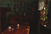 interior with coffee cups on the table and geraniums in the window by hans ludvig smidth