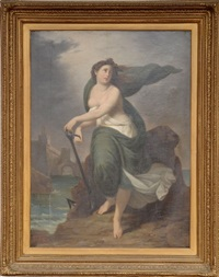 female figure in landscape by achille leonardi