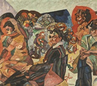 avtoportret s naturschitsami (self-portrait with artist's models) by aristarkh vasilevich lentulov