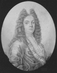 mr. hill, wearing full bottomed wig, tied cravat and cloak with checked lining by thomas forster