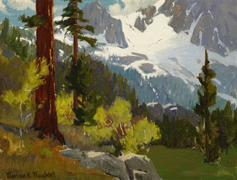 redwood trees in a sierra mountain landscape by marion kavanaugh wachtel