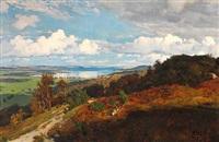 udsigt fra højdedraget syd for mossø. sommereftermiddag med dragende skyskygger by hans christian fischer