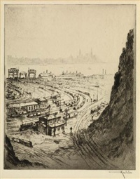 the towboat (+ river railroad rock; 2 works) by otto august kuhler