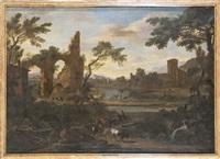 viandanti in paesaggio fluviale con rovine by italian school-genoa (18)
