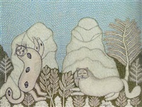 cats in the snow by morris hirshfield