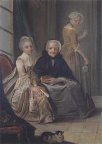 deux jeunes filles et leur grand-mère dans un intérieur by charles lepeintre