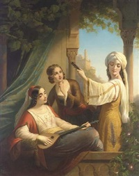 oriental ladies playing music by paul emil jacobs