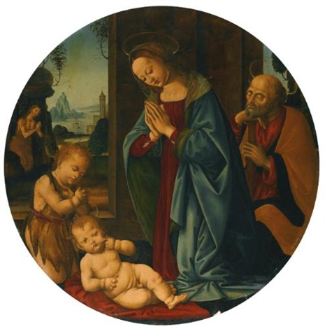 the holy family with the infant saint john the baptist in the background a landscape with saint onuphrius by tommaso lorenzo di