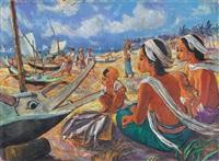 indonesische frauen mit kindern am fischerhafen by i gusti ketut suandi