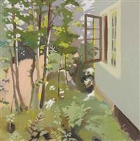 birch trees by a window by fairfield porter