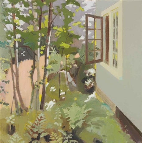 birch trees by a window by fairfield porter