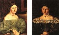porträtt av konstnärens systrar (pair) by carl petter mazer